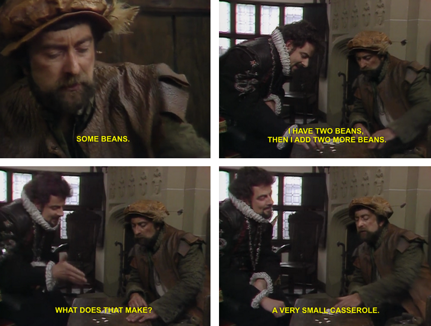 Classic 'Some Beans' from Blackadder Series 2 Episode 2 Head