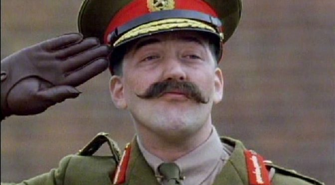General Melchett played by Stephen Fry
