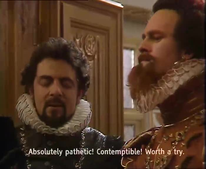 Blackadder trying to pretend someone isn't dead