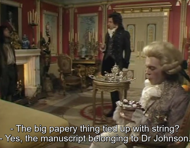 Baldrick has burned the first dictionary