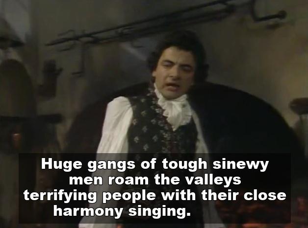 Close harmony singing joke in Blackadder