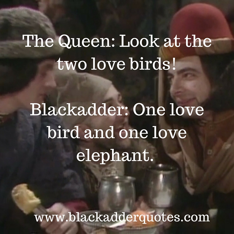 Look at the two love birds! | Blackadder quotes