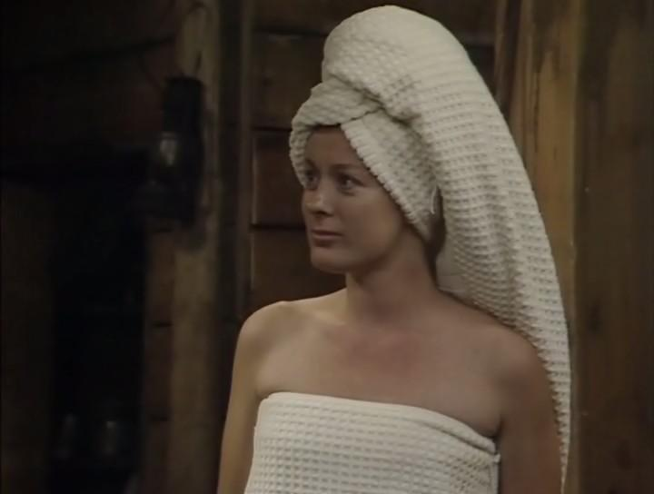 Bob wearing just a towel in Blackadder