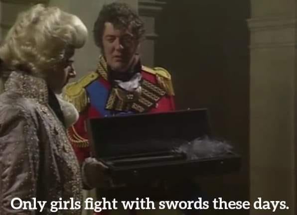 Stephen Fry Only girls fight with swords