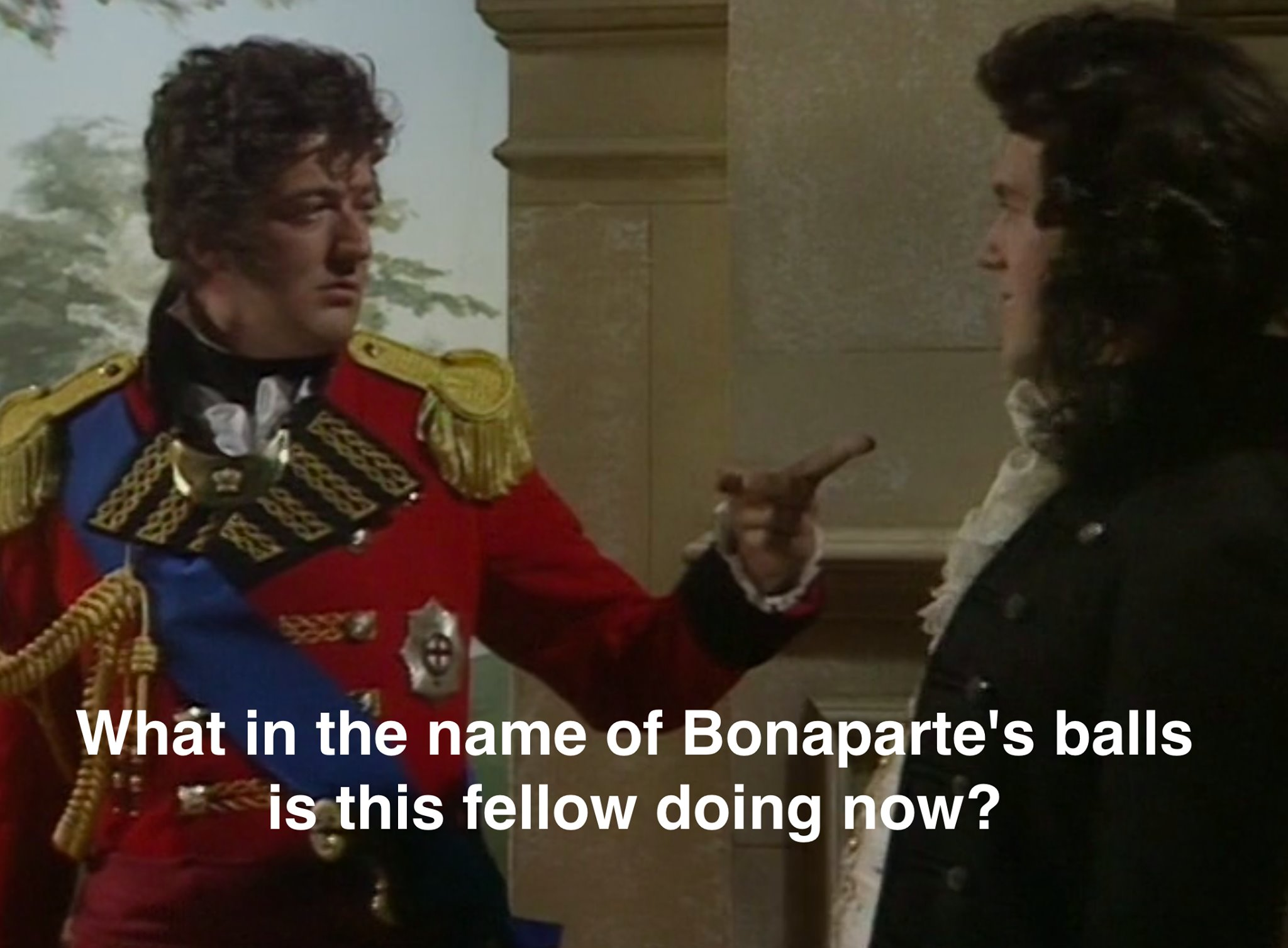 What in the name of Bonaparte's Balls is this fellow doing now - Stephen Fry Quote from Blackadder