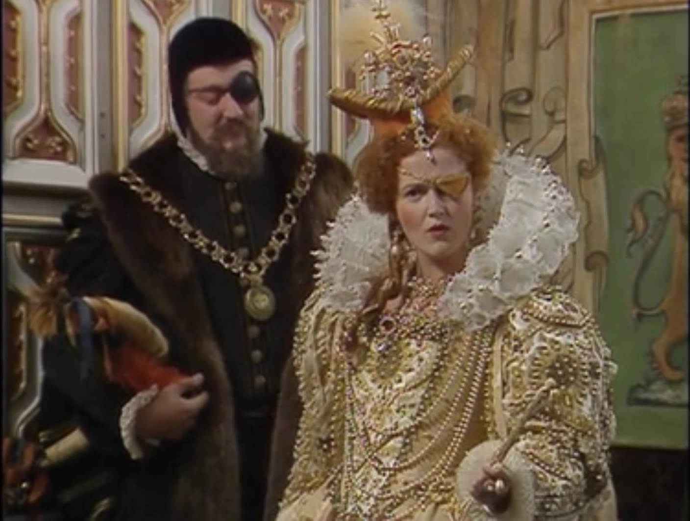 Queeniw wearing eye patch in Blackadder - Talk like a pirate