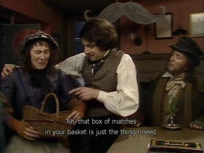 Blackadder's Christmas Carol - Blackadder buying some matches he doesn't need