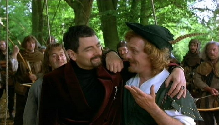 Rowan Atkinson as Blackadder and Rik Mayall as Robin Hood in Blackadder Back and Forth
