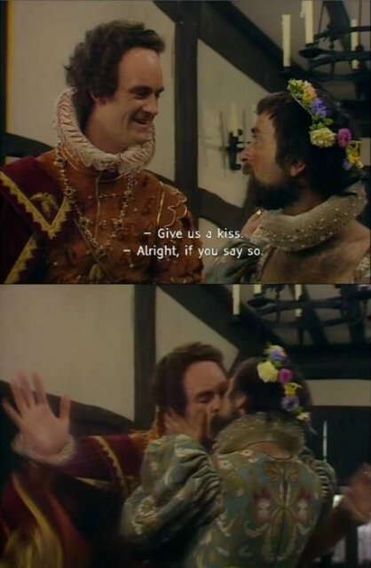 Percy kissing Baldrick - One of the most romantic moments in Blackadder